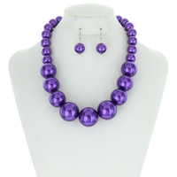 LARGE PEARLS CHUNKY NECKLACE SET