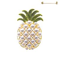 PINAPPLE BROOCH W. PEARLS