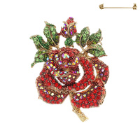 TWO ROSES RHINESTONE PIN