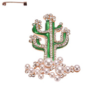 CACTUS METAL CASTING STONE BROOCH