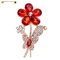 FLOWER METAL CASTING STONE BROOCH