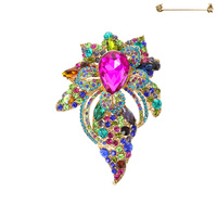 Large Center Teardrop With Flower Stone Cluster Brooch Pin Py5857Gmu