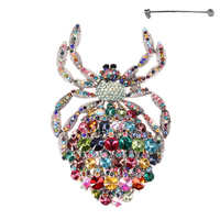 LARGE SPIDER METAL STONE BROOCH