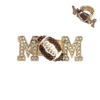 Stone Encrusted Mom With Football Stretch Ring Rl023