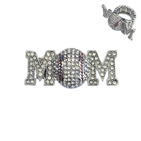 Stone Encrusted Mom With Baseball Stretch Ring Rl025