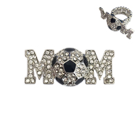 Stone Encrusted Mom With Soccer Ball Stretch Ring Rl026