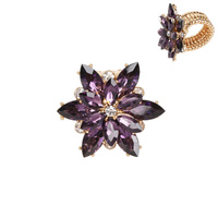 PURPLE POPULAR FLORAL STRETCH RING WITH CRYSTAL PEDALS