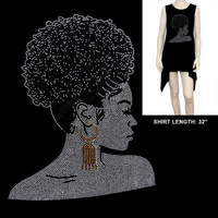 AFRO PONY SIDE VIEW BLING SHIRT