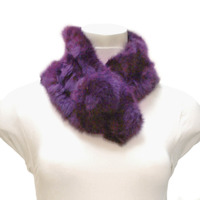 2 Line Real Rabbit Fur Neck Wrap Scarf
